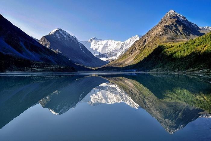 Снег, Гора, Озеро, Водоём, Ледник